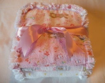 Baby Girl Burp Cloth Set of 3- Pretty Spring Bunnies and Flowers in Pink and White Chenille Rag Quilted
