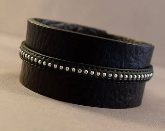Black Cuff-Gift For Him-Father's Day-Fathers Day Gift-Husband Gifts-Husband Birthday-Leather Gifts-Black Bracelet-Ladies Cuff-Birthday Gifts