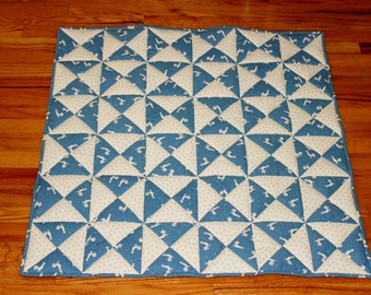 "Baby quilt bright blue and white pieced, reversible, soft and warm 35 "" square"
