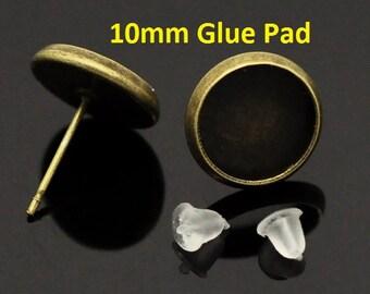 10 or 30 pcs. Antique Bronze Earring Posts Studs Settings Bezels Cabochons Tacks- 10mm Glue Pad Setting