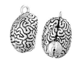 """1pc. Antique Silver Anatomical Organ Brain Cerebrum Medical Charms Pendants - 36mm X 23mm - (1 3/8"""" x 7/8"""") - 3D - Double Sided - LARGE"""