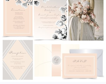 Peach and Grey floral Wedding invitation. Invitation and Rsvp Sample