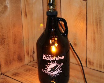 Dolphins Football Beer Growler Lamp with Night Light