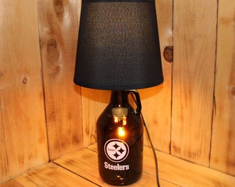 Pittsburgh Steelers Football Beer Growler Lamp with Night Light with shade
