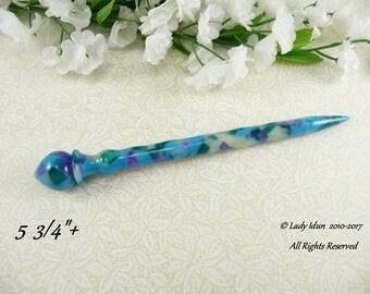 Hair Stick Shorter Length Treasured Gems Acrylic