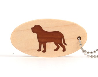 Mastiff Key Chain, Wood Dog Key Ring, Wooden Pet Key Fob, Mastiff Dog Accessories, Dog Breed Key Chain, Molosser, Cherry Hand Cut