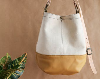 Project Tote-Bag- Large Pocket Canvas Tote Bag- Leather and Canvas Tote- Huge Pocket Tote Bag- Hemp Leather Natural Dye Tote Bag
