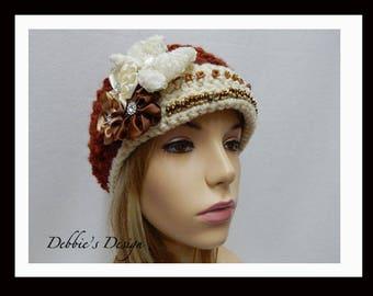 Women's Hat-552 Women's Crochet  Cloche Hat, Women's Hats, Women's Crochet Hat, CloucheHat, Spring Monarch Ribbed Hat, Women's Accessories