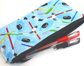 Hockey Bag - Hockey Gifts for Kids -  Zipper Pencil Case - Blue Zipper Pouch - Colored Pencil Holder - Zookaboo - Ready to Ship