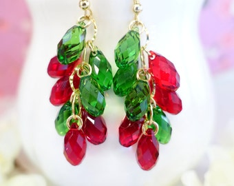Christmas Red and Green Swarovski Crystal Cluster Chandelier Earrings, Christmas Chandelier Gold Cluster Earrings, Christmas party earrings