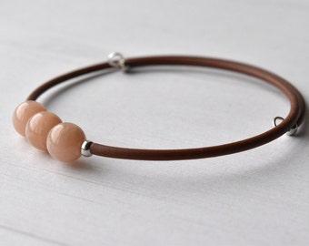 Gemstone Bracelet, Peach Moonstone, Moonstone Bracelet, Gift for Her