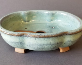 Petal Shaped Footed Bonsai Pot for Elephant Bush Jade Handmade Pottery Wheel Thrown