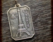 Antique French Silver Paris Tower Eiffel and Saint Christopher Religious Medal - Jewelry devotion pendant from France