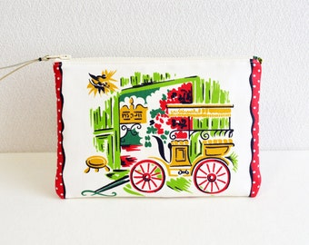 Vintage retro zipper pouch  [323] cosmetic pouch, pen case, zip closure