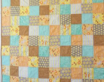 Baby Quilt, Woodland Animal Print, Fox, squirrel, deer