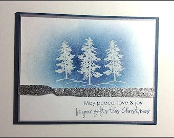 Peace, Love and Joy - Christmas Holidays Handmade card