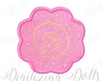 Swirl Flower Applique Machine Embroidery Design 2x2 3x3 4x4 5x5 Simple cute easy sweet INSTANT DOWNLOAD
