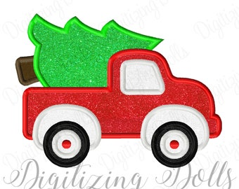 Truck Tree Applique Machine Embroidery Design 4x4 5x7 6x10 Christmas INSTANT DOWNLOAD