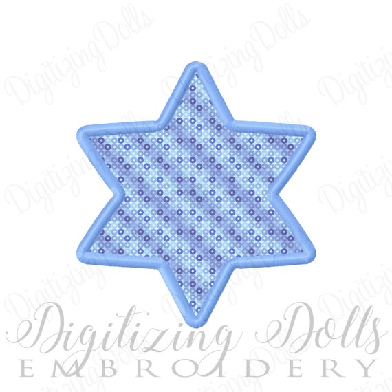 Star of David Applique Machine Embroidery Design 4x4 5x7 6x10 Hanukkah INSTANT DOWNLOAD