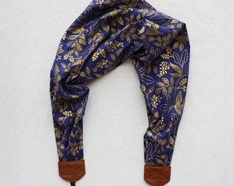 scarf camera strap bold blue berry branch - BCSCS071