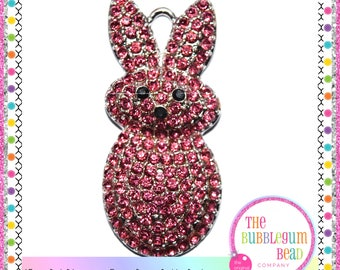 45mm PINK EASTER BUNNY Rhinestone Bubblegum Necklace Pendant, Gumball Necklace Pendant, Chunky Necklace Pendant, The Bubblegum Bead Co.