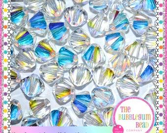 10mm SWAROVSKI BICONE CRYSTAL Beads, Qty 4, Swarovski 10mm Ab Bicone Crystals, Bicone Crystal, 10mm Bicone Beads, Ab Beads, Gumball Beads