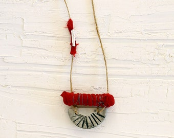 Boho ceramic pendant, long fabric necklace with ceramic bead and silver charm, red tribal necklace, burgundy fabric necklace, african jewel