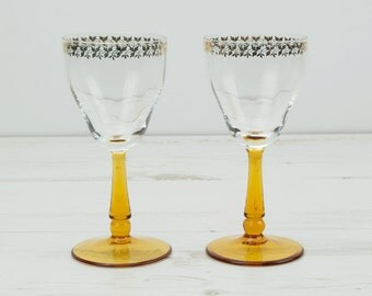 Vintage amber drinking glasses - Barware Gold honey glassware serving display yellow stemmed glass orange