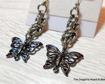 Silver Byzantine Chainmaille, Dangling Butterfly Earrings