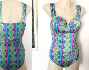 Retro Turquoise aqua pink 80s print metallic psychedelic vintage bathers onepiece swimsuit