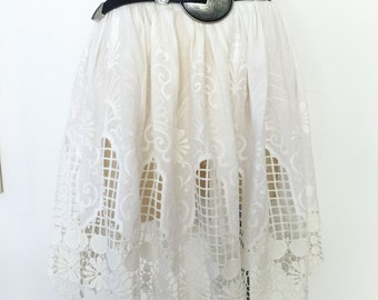 White broderie lace anglaise high waist sheer cut outs festival skirt