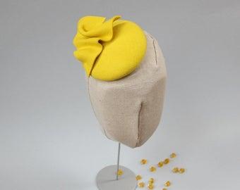 Wool Felt Mini Hat-Button-Felt Fascinator-Yellow
