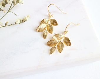 Grecian Earrings, Gold Branch With Leaves Earrings, Gold Leaf Earrings, Grecian Goddess Earrings, Gifts For Her