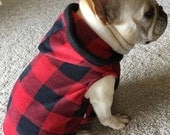 French Bulldog Red and Black Buffalo Checked Fleece Hoodie