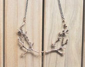 Branch / twig / antler woodland bib necklace, copper tone, twig jewelry, whimsical statement necklace, Forest Fantasy