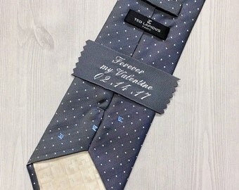 Tie Personalized Labels  Embroidered, gift for Him, Men's Accessory, Monogrammed, Custom Embroidery, Made by order.