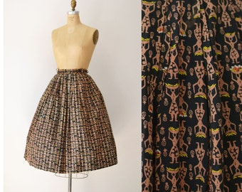 1950s Novelty Print Skirt / 50s Tropical  Skirt