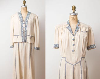 RESERVED 1930s Embroidered Dress / 30s Raw Silk Dress & Jacket
