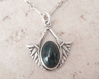 Bloodstone Necklace Art Deco Egyptian Style Sterling Silver Vintage 111616BT
