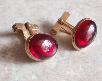 Red Oval Cufflinks 10K Rolled Gold Plated Swivel Swank Vintage V0635