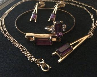 Avon Plaza IV Amethyst Jewelry Set