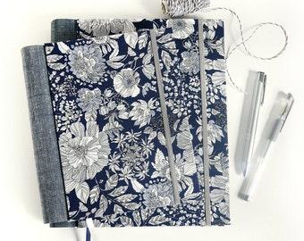 Fabric journal // MOONLIT GARDEN hardbound spiral notebook jotter diary