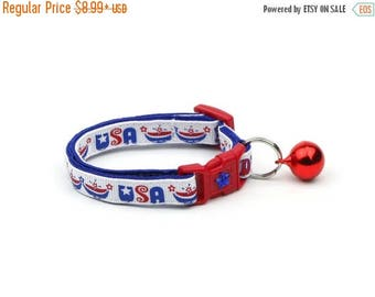 ON SALE Fourth of July Cat Collar - USA Pride - Red White and Blue - American Flag - Kitten or Large Size