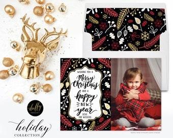 Christmas Photo Card, Holiday Photo Card, Photo Christmas Card, Red Holiday Card, Christmas Card 5x7 Holiday Card- Black Reg Gold - 1 SIDED