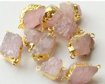 ON SALE 55% Raw Morganite Connectors, Raw Pink Emerald, Pink Beryl, Rose Beryl, Gold Connectors, Rough Morganite Necklace Connector, Double