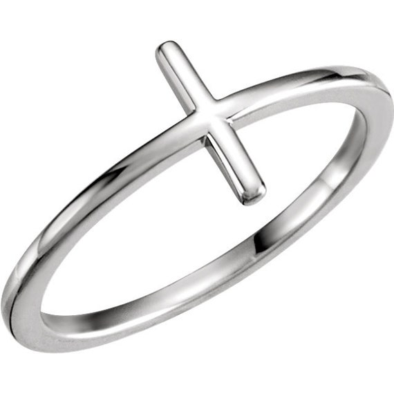 14k white gold sideways cross ring available in 14k 18k