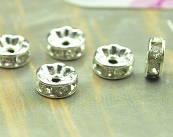 bead spacers crystal. 20 Silver bead spacer, Brass Rondelle Spacer Beads with Crystal Clear Rhinestone, for Jewelry Bracelet Necklace 8mm