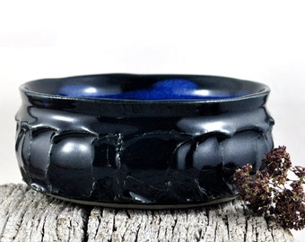 Handmade Ceramic Bowl Stoneware Blue Black Faceted - Unique Pottery - Home Decor Kitchenware - Serving, Pasta, Fruit or Salad Bowl