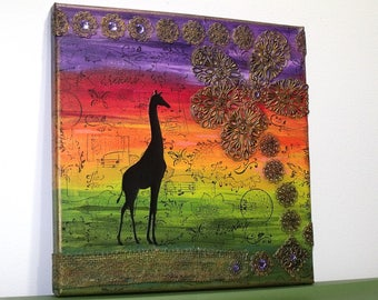 Giraffe Silhouette Sunset Mixed Media Canvas - Africa Jungle Bohemian Hippie Boho Chic Rainbow Indie Art Wall Hanging Home Decor