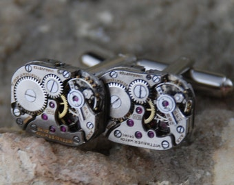 Beautiful Pair of 17 Jewels Steampunk Square Wittnauer Watch Movement Cuff links CL 50